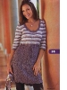 Полосатая туника-платье спицами
